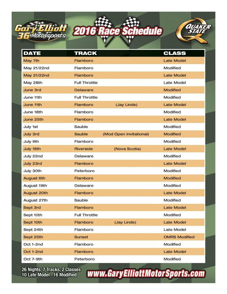 Gary Elliott 2016 Schedule